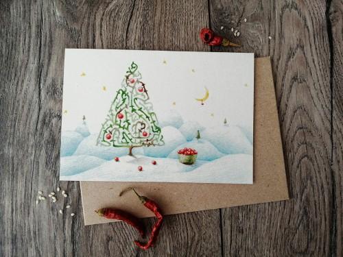 Kalėdinis atvirukas EGLĖ + vokas