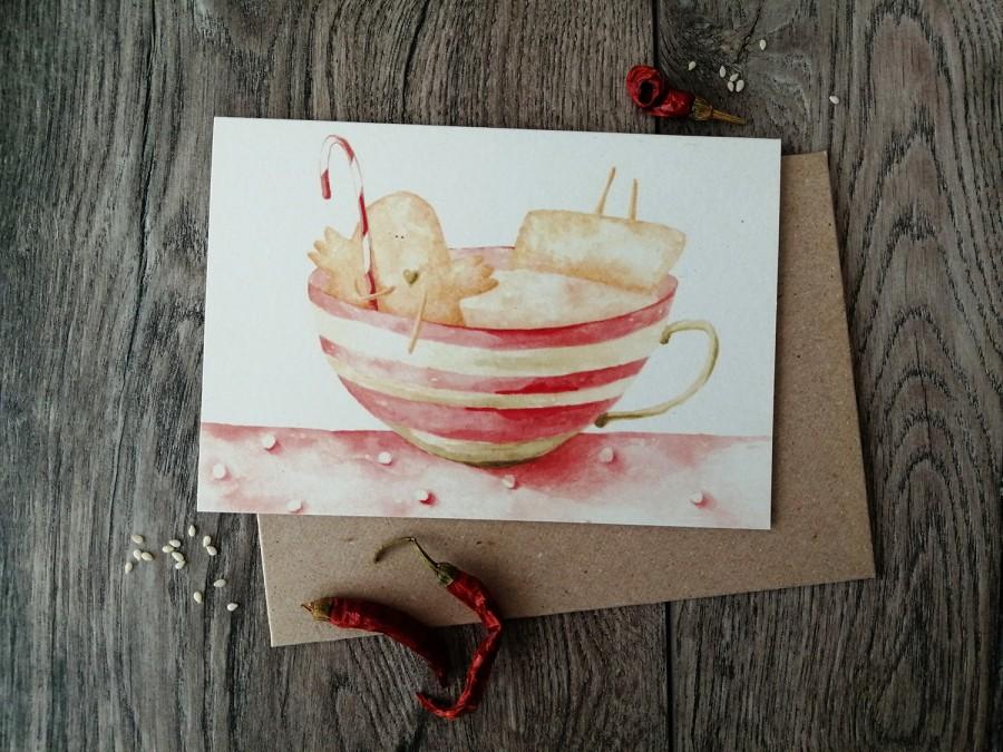 Kalėdinis atvirukas PUODELIS + vokas