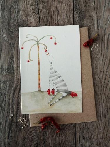 Kalėdinis atvirukas ZEBRAS + vokas