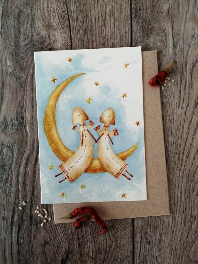 Kalėdinis atvirukas ANGELAI + vokas