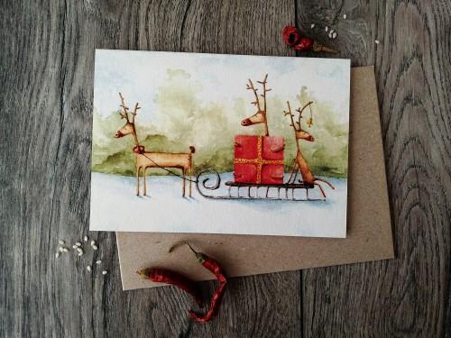 Kalėdinis atvirukas ELNIAI + vokas