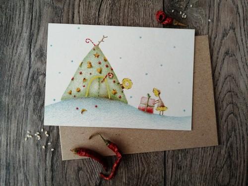 Kalėdinis atvirukas JURTA + vokas