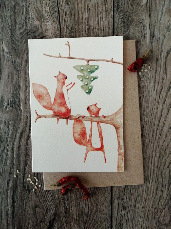 Kalėdinis atvirukas VOVERĖS + vokas